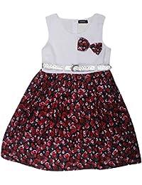 POPCORN Girls' A-Line Dress (Multi-Coloured, 3-4 Years)
