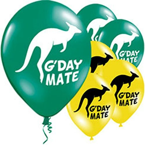 australia-day-latex-11-inch-balloons-green-yellow-g-day-mate-kanagroo-design