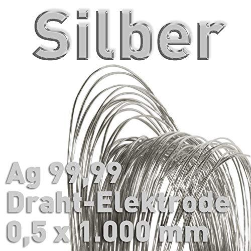 Alambre de plata Ag 99,99%, 0,5 mm x 1000 mm, plata fina galvanizada, alambre de plata 100 cm