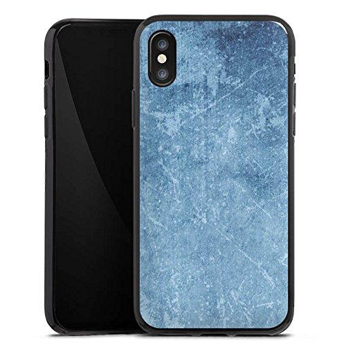 Apple iPhone X Silikon Hülle Case Schutzhülle Muster Blau Kratzer Struktur Silikon Case schwarz