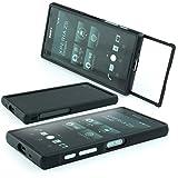 Sony Xperia Z5 Compact Alu Rahmen Schwarz Aluminium CNC Case inkl. Panzerglas für Vorder und Rückseite Metall Cover Schutz Hülle Schieben Bumper Tasche Sturz schwarz black