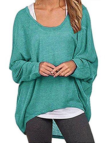 Elevesee Damen Lose Asymmetrisch Jumper Sweatshirt Pullover Bluse Oberteile Oversize Tops (38, Grün)