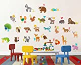 #2: Rawpockets Decal ' ABCD English Alphabets Animals Name Baby Décor' (Material - PVC Vinyl Matte Finish, Wall Coverage Area - Height 95cm X Width 105cm) ( Pack of 1) Wall Sticker