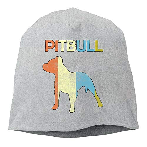 DHNKW Pitbull Vintage Unisex Knit Hat Soft Stretch Beanies Skull Cap Hedging Cap Black -