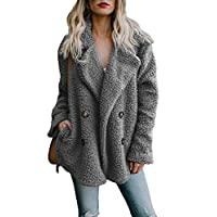 Aleumdr Womens Fashion Cozy Warm Solid Oversized Fleece Open Front Fuzzy Loose Coat with Pockets Fluffy Outerwear Jackets Grey Small