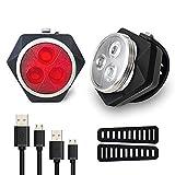 Hually Luci per Bicicletta, Luci Bici 800mAh USB Ricaricabile Impermeabile LED Faro e Fanale Posteriore,4 modalità, Batterie Inclusive,2 Cavi USB Incluso