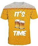 Integrity's Home Herren t Shirt Bedruckt Slim Fit 3D Druckten Damen Unisex T-Stücke Digital Gedruckte Kurzarm Tees Tops Bier,EU XL
