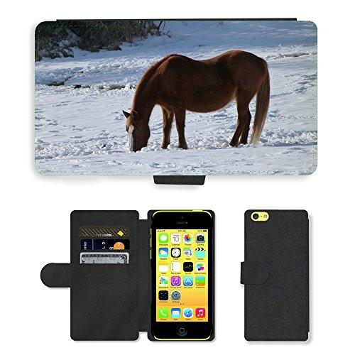 Just Mobile pour Hot Style Téléphone portable étui portefeuille en cuir PU avec fente pour carte//m00139648Animal Cheval d'hiver neige Eye/neige/Apple iPhone 5C