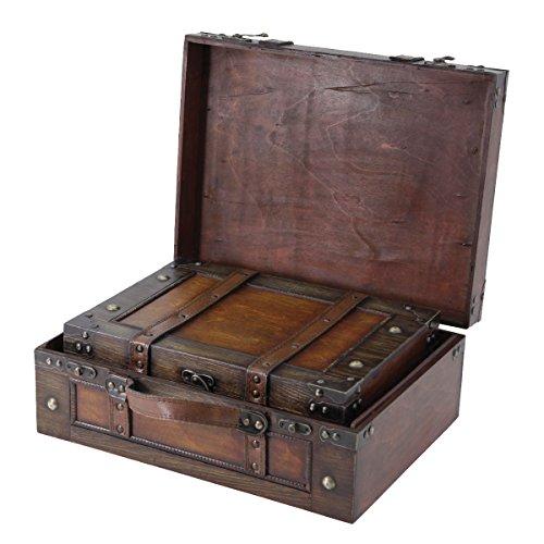 Vintiquewise Maleta de estilo antiguo caja decorativa con correas, madera envejecida marrón, juego de 2.