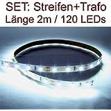 SET LED Strip Streifen WEISS 2 Meter inkl. Netzteil PCB weiss