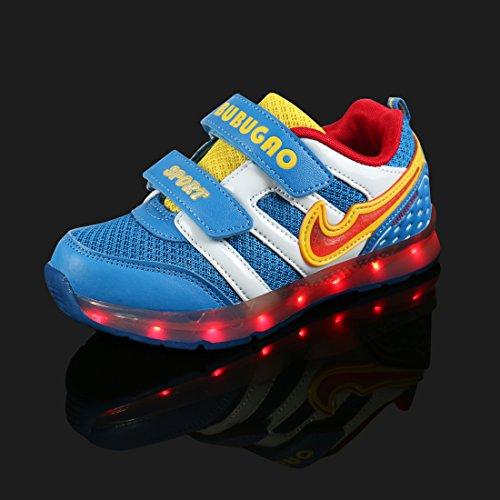 Angin-Tech LED Chaussures,7 Couleurs de Recharge USB Enfants Souliers de Clignotants Sneakers de Garçon et Fille pour l'Anniversaire Grâce de Noël Donnant avec Certificat CE Dark Blue