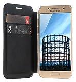 JT Berlin FolioCase Schöneberg für Samsung Galaxy A3 (2017) (Handarbeit, Transparente Hartschale, Standfunktion, Kartenfächer) schwarz - 10172