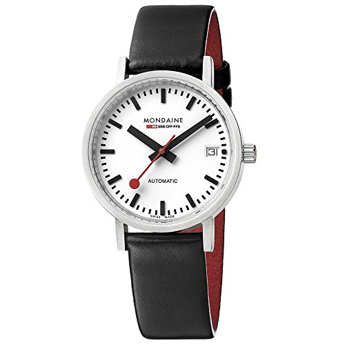 Mondaine Official Swiss Railways Watch Classic Women's/ Men's Watch, Automatic with Date and Black Leather Strap