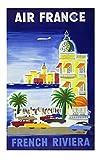 Affiche Air France French Riviera - B.Villemot Reproduction 50 X 70 cm