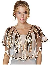 Keland - Camisa para mujer con lentejuelas, con cuentas, chal de noche, chal, bufanda, fiesta de boda