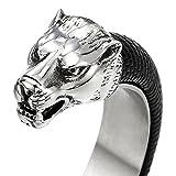 Herren Edelstahl Wolfskopf Offenes Manschette Armband, Armreif Intarsien mit Schwarze Leder, Elastische Verstellbare - 2