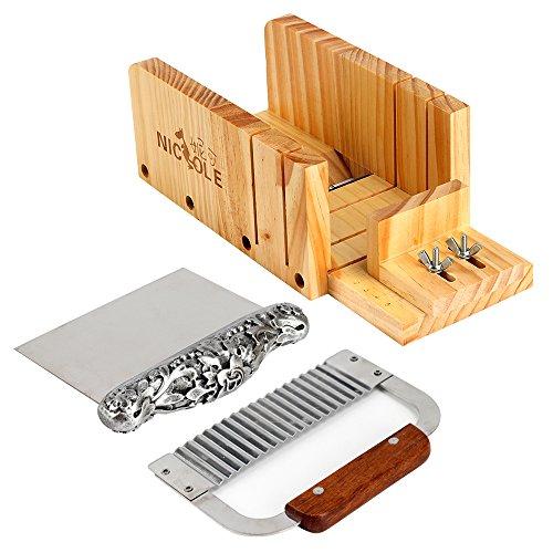Jabón cortador herramientas Set-3multifunción ajustable caja de madera pan de corte ondulado de acero inoxidable & recta Cuchilla