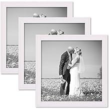 Set de 3 cadres photo chalet 20x20 cm blanc bois massif avec vitre à accrocher ou à poser