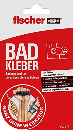 Fischer 545949 Bad Kleber, 2x handliche Portionsbeutel, 2-Komponenten Klebstoff für alle Oberflächen Rot, Weiß