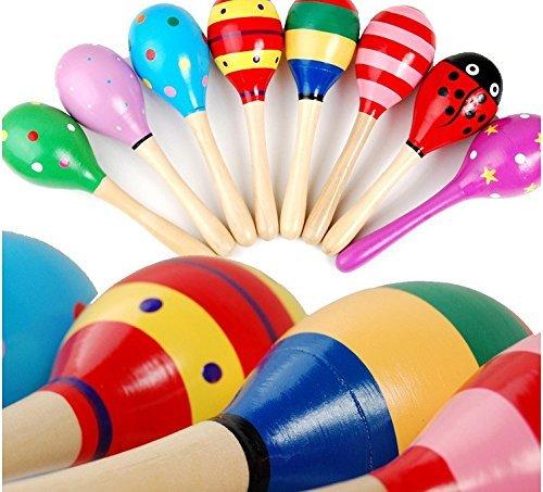 Creation® 1 PC Popolare bambino scherza il suono di musica del regalo del bambino Rattle musicali Giocattoli in legno colorato (Colore può variare)