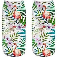 OHlive Suave Calcetines de Mujer Flamingo 3D Impreso Zapatillas Liners Tobillo (1 par-HLN17-One Size) (Color : HLN17, tamaño : Talla única)