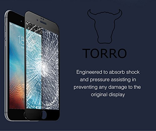 iPhone 6S Plus Premium Quality, FULL Curved Tempered Glass Screen protector to mimic the original display with full 3D frontal cover protection by TORRO (iPhone 6 Plus/6S Plus, All Glass Black) Grey