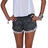 HANMAX Sommershorts Damen Mini Hotpants Boho Strandmode Badeshorts Bikinishorts Hotpants für Freizeit Party