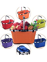Zomoza Collapsible Market Basket, Reusable Grocery Shopping Bag, Picnic Tote With Strong Aluminum Frame And Handles...