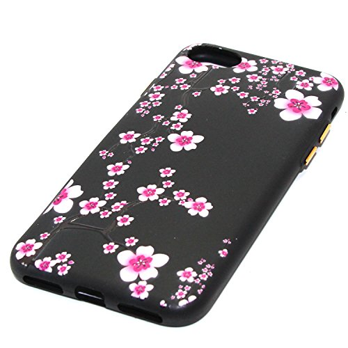 Custodia iPhone 7 Plus, iPhone 7 Plus Cover Silicone, SainCat Cover per iPhone 7 Plus Custodia Silicone Morbido, Creative Design Custodia Cover Flower Ultra Slim Silicone Case Ultra Sottile Morbida TP Ciliegia
