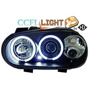 Design scheinwerfersatz angel eyes avec anneau cCFL-nebellampen avec veilleuse circulaire, verre transparent/noir-vW golf iV (modèles 1998–2002
