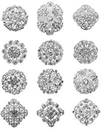 cc1083ed41f TOOKY 12pcs Mix Set Crystal Brooches Flower Brooch Collar Pin Corsage  Bouquet Decor Wholesale Lot DIY