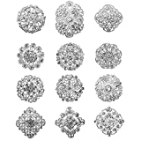 TOOKY 12pcs Mix Set Crystal Brooches Flower Brooch Collar Pin Corsage Bouquet Decor Wholesale Lot DIY BROACH (silver)