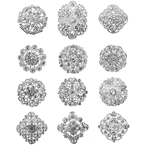 Crystal Brookes Flower Brook Collar Pin Corsage Bouquet Dekor Großhandel Lot DIY BROACH (silber) ()