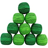 10 PC-Shades Of Green Cotton Häkelgarn Tatting Stickgarn Knitting
