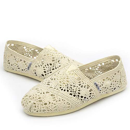 YOPAIYA Espadrilles Größe 35-40 Frauen Khaki Espadrille Sticken Schuhe Bequeme Spitze Damen Womens Casual Schuhe Hohlen Hanf, 37 - Spitze Hanf