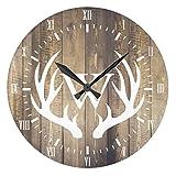 Monsety Wanduhr aus Holz, Antikes Design, für Schlafzimmer, Bauernhof, weiße Ziffern, weißes Hirsch, Geweih, Wanduhr, Dekoration für Kinderzimmer, 30 cm