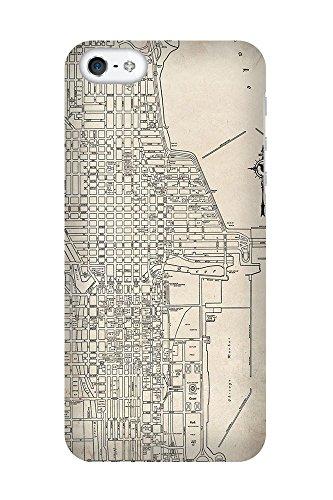 iPhone 4/4S Coque photo - Retro Map Chicago Grunge