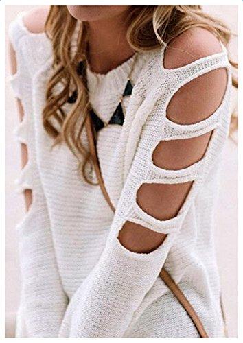 Fablcrew off spalla a maglia maglione sexy Hollow Out pullover da donna a maglia jumper bianco, lavorato a maglia, White-S, small White-s