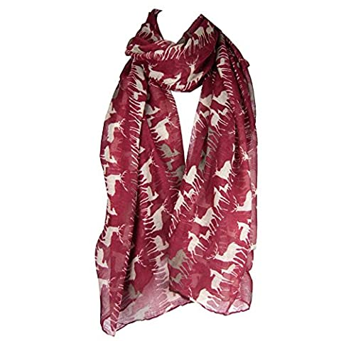 Hey Hey Twenty - Lightweight Maxi Scarf / Semi-Opaque Sarong Beach Wrap (Stag Deer - Dark Red)