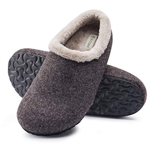 FITORY Herren Holz Pantoffeln Warmer Plüsch Hausschuhe Winter Clog mit Korkfußbett Braun Gr 41-42
