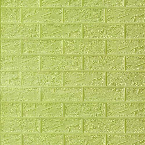 HX stickers 5 pièces 3D Auto-adhésif Autocollants, Mousse PE Tuile de Mur Anti-Collision épaississement Panneaux muraux Toile de Fond pour Les Murs TV-Vert-B 69 * 78