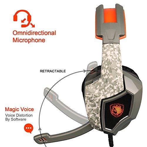 ECOOPRO Stereo Gaming Headset mit Mikrofon - 3,5 mm Over-Ear-Kopfhörer - LED-Leuchten & In-line Lautstärkeregler für PS4, PC, MAC, Handys