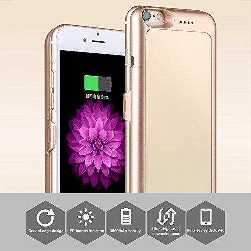 Cover Power Bank iPhone 6 / 6S da 3000mAh - Skitic Batteria Ricaricabile Esterna Banca di Potere Caricabatterie Portatile Insert Sim/SD Card Call Clip Backup Battery Charger Protettiva Custodia Case - Oro
