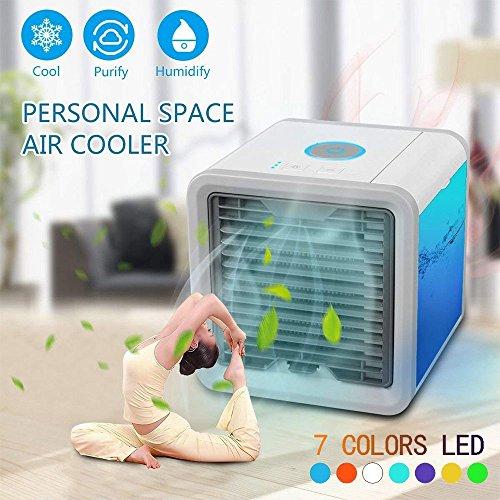 Tragbare Klimaanlage Luftkühler Air Cooler, 【Upgrade-Version】Mini Mobiles Klimagerät Verdunstungs,Luftbefeuchter&Luftreiniger Ventilator mit USB Anschluß (Einstellbare 7 Stimmungslichter - 3 Windgeschwindigkeit)