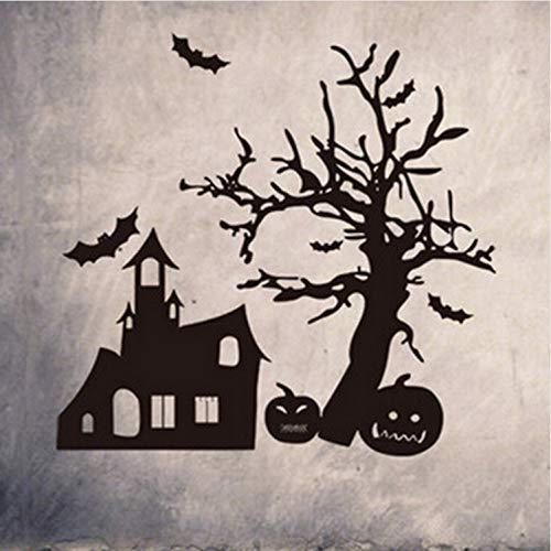 Kyzaa 1 Stücke 57 * 55 Cm Halloween Kürbis Bat Spukhaus Entfernbare Wandaufkleber Home Shop Wandbild Kunst Tapete Hallowen Liefert