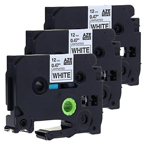 Unistar 3x Schriftband Kompatibel für Brother Tze-231 12mm Schwarz auf Weiß 12mm Breit 8m Länge (3x Schwarz auf Weiß)/Label Tape /Label cassette/laminierfolien/2 Jahre Garantie.