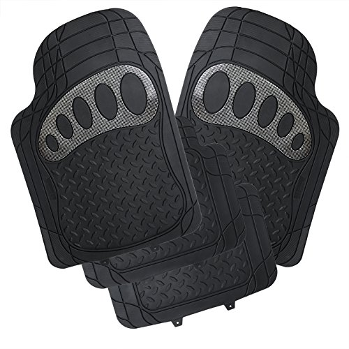 Preisvergleich Produktbild WOLTU AM7176sb Universal Auto Fußmatten Gummimatten Gummi Matten Set Zuschneidbar Schwarz/Silber
