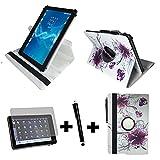 3er Starter Set für Aldi - MEDION LIFETAB X10302 MD 60347 Tablet PC Tasche + Stylus Pen + Schutzfolie - 10.1 Zoll Lila Blumen 360_