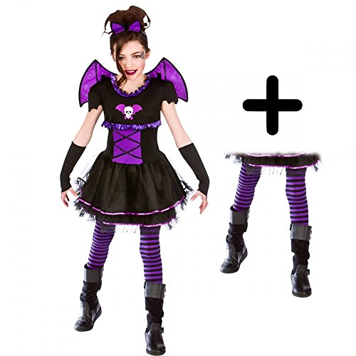 ina + Tights Girls Fancy Dress Kids Halloween Childs Costume 5 - 7 years (Batty Girl)