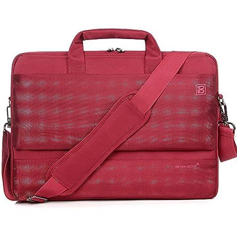 """Brinch® 39,62 cm (15,6"""") universale in Nylon, resistente, anti-urto, per Laptop, Borsa a tracolla, borsa per trasporto, borsetta con tracolla, posteriori e cintura, 15-39,62 (15,6"""") cm per Laptop/Tablet/Notebook/MacBook/Chromebook/Ultrabook, colore: rosso"""